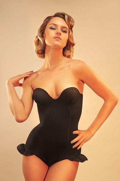 maillot de bain une piece bustier noir vintage