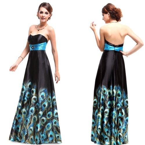 robe de soirée motifs plumes de paon