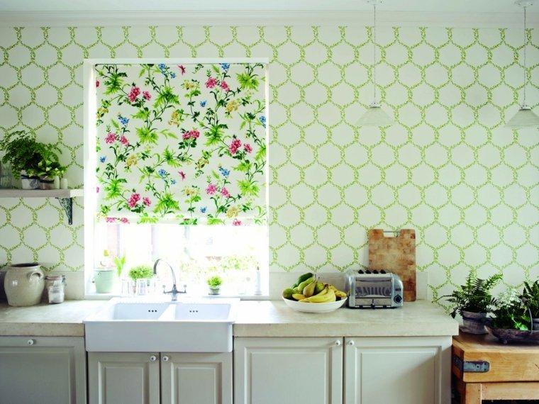 cuisine papier peint fleurs