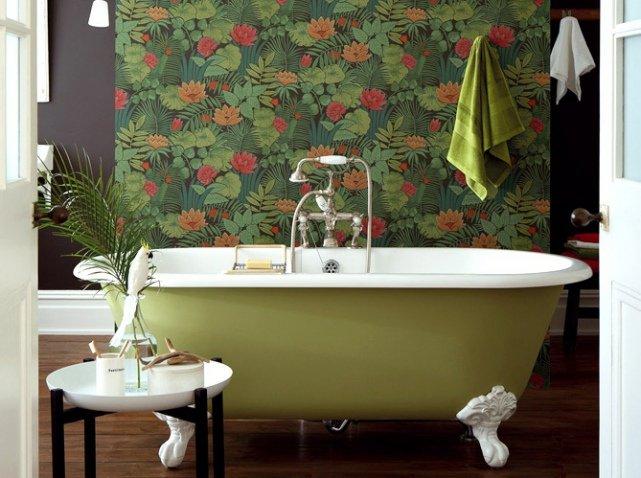 salle de bain papier peint fleurs