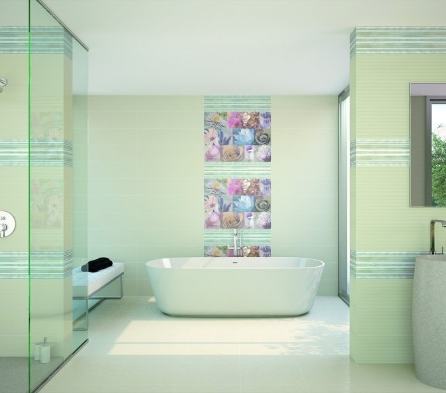 salle de bains mur fleurs
